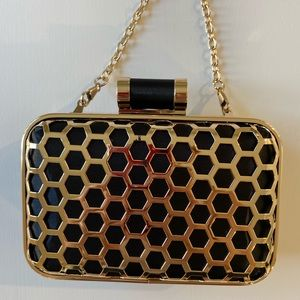Black and Gold Honeycomb Clutch